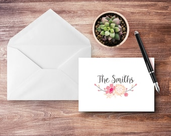 Personalized - RUSTIC FLORAL - Note Cards - Personalized Family Stationery - Stationery Set
