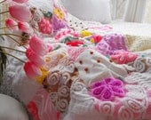 GORGEOUS FLUFFY SNUGGLY Vintage Chenille Patchwork Baby Quilt Collectible Size