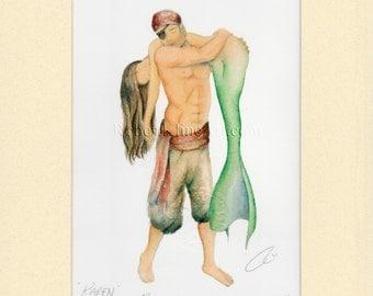 "Pirate Carrying Mermaid Art Signed Robert Kline Matted 5"" x 7"" Print Fantasy Nautical Gift Beach House Boat Bathroom Historical Home Decor"