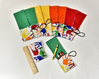 Birthday Party Favors Ten Crayon Roll Up Crayon Wrap, Colorful Hands, Crayon Holders with Cover