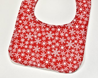 Christmas Baby Girl Bib, SALE Drool Bib Reversible Bib Soft Flannel Backing, Snow Flakes on Red, Unisex Baby Shower Gift