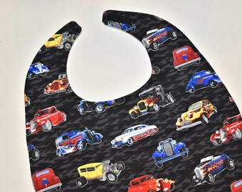 Mens Adult Bibs Special Needs Bib Clothes Protector Husband Gift, Hot Rods, Senior Bib Christmas Gift Nursing Home