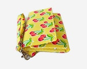 Cushioned Phone Wristlet Wallet - Yellow Trifold Wallet - Cherry Print Smartphone Wristlet -  Phone Pouch -  iPhone Wallet - Phone Clutch
