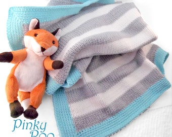 Knitted Baby Blanket in stripes of light grey and white with a aqua color border / unisex baby blanket / baby boy blanket