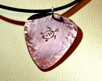 Sea Turtle Copper Guitar Pick Necklace with Artistic Iridescent Purple Blue Patina and Hammered Texture - NL471