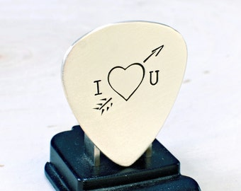 Sterling Silver Guitar Pick with heart and arrow - GP797
