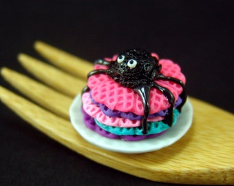 SALE Polymer Clay Food // Dollhouse Waffles for Halloween // 1:12 Scale Food // Dollhouse Miniature Food