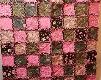 Pink/Black/Grey Skull Baby Blanket