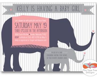 Elephant Girl Baby Shower Invitation - DIY Printable PDF or JPG File