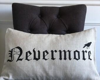 READY TO SHIP Halloween pillow cover crow raven edgar allan poe nevermore linen pillow cover