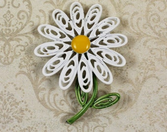 Vintage White and Yellow Filigree Daisy Enamel Flower Brooch