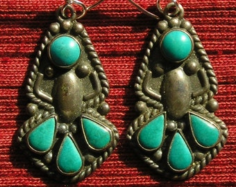 Harvey Era Southwest Sterling Silver Turquoise Dangle Earrings