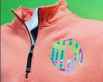 Monogram Embroidered 1/4 Zip Sweatshirt with Lilly Applique