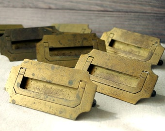 Pair of Brass Drawer Pulls - 1930s Salvaged Office Desk Handles