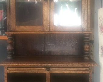 Antique Child's or Doll Cupboard Hutch Dresser Cabinet Handmade As Found Rare Find