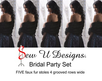 Bridal Party set - FIVE faux fur stoles  4 grooved rows wide Available in white, ivory, cream or black grooved faux fur