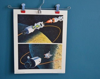 Vintage Set of Three Moon Landing / Exploration Educational Posters