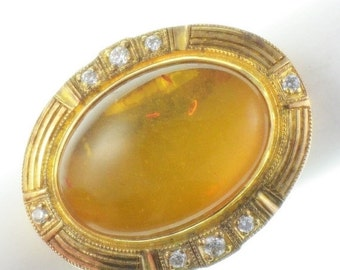 RESERVED do not Buy  Sunning Art Deco Victorian Amber with Crystal Accent Sterling Silver Gold Antique Vintage Ring