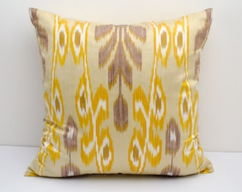 15x15 cream yellow brown ikat pillow cover, cushion case, ikat, yellow ikat pillow cover,  eco textile, handmade ikat, yellow, cream