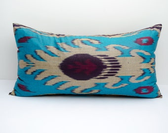20x12 lumbar blue beige dark purple long ikat pillow cover, ikat pillow case, ikat lumbar size, blue ikat, blue pillows