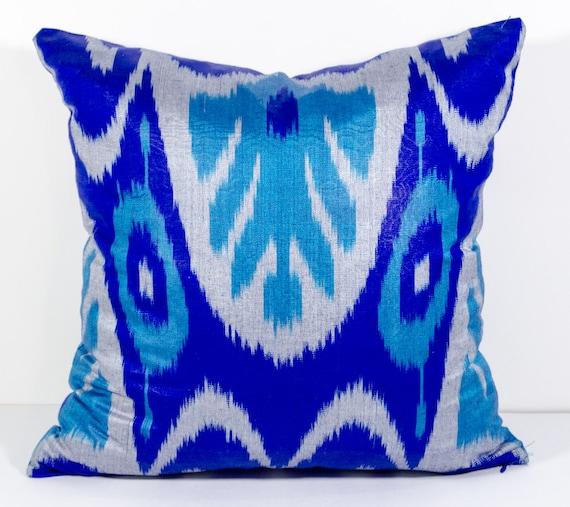 15x15 Throw Pillow Cover : 15x15 blue ikat pillow cover cushion pillow case cushion