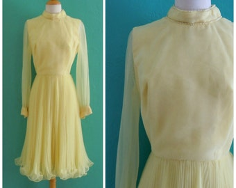 vintage 60's yellow party dress with plisse skirt