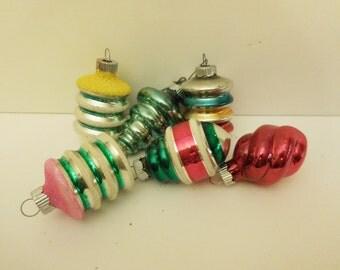 Shiny Brite Mid Mod Set of Six Early Atomic Ornaments