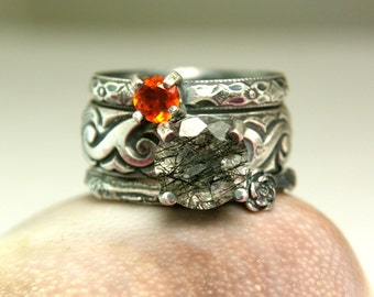 Faceted Rutilated Quartz Stacking Rings, Sterling Silver Gemstone Ring, Mexican Fire Opal Twig Ring, Unique Jewelry