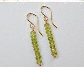 Peridot Bar Earrings - Gold Filled Beadwork Earrings Beaded Stick Earrings Dangle Earrings