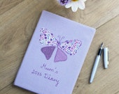 Personalised 2016 Diary with Butterfly Applique on Irish Linen - Lavender