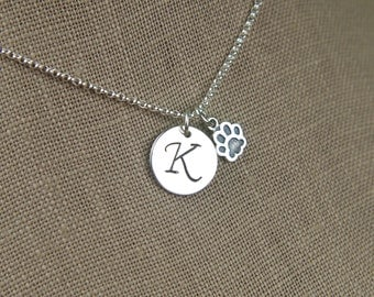Monogram initial and tiny paw print charm necklace in sterling silver, heart charm, cat paw, dog paw, cat jewelry, dog jewelry, pets