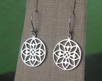 Mandala pendant earrings in sterling silver, geometric, mystical, bohemian, mandalla, yoga inspired, flower