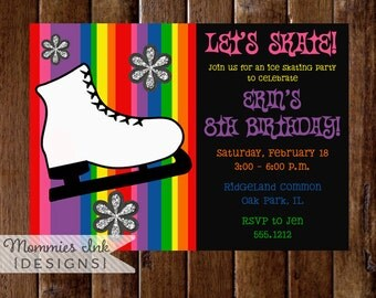 Ice Skate Invitation, Ice Skating Invitation, Ice Skating Birthday Invitation, Ice Skating Party Invitation, Rainbow Invite, DIY Printable