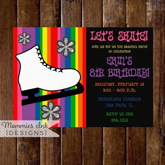Ice Skate Invitation, Ice Skating Invitation, Ice Skating Birthday Invitation, Ice Skating Party Invitation, Rainbow Invite, DIY Printable
