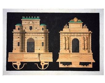 1757 ARCHITECTURE  PORTES print original antique french hand coloured engraving - horizontal portes