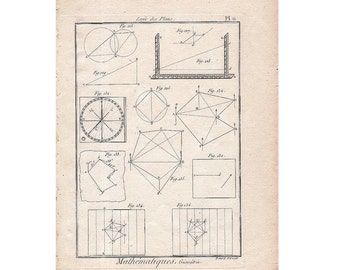 1784 MATHEMATICS GEOMETRY engraving original antique print of abstract science of number quantity and space