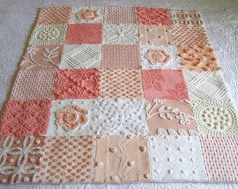 "Boutique Quality Vintage Chenille Bedspread Baby or Lap Quilt - "" Peaches Plus"" - Made to Order"