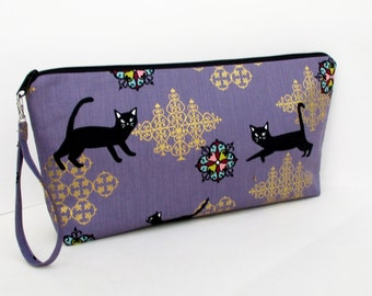Knitting Zippered Project Bag, Wedge Bag, Black Cats Purple Large Zipper Pouch,