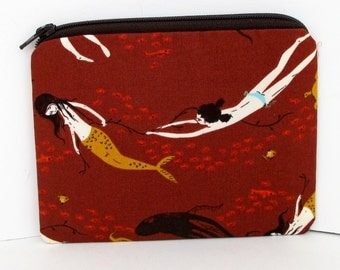 Small Zipper Pouch, Mermaid Swim in Brown, Underwater Sisters, Heather Ross Mendocino Fabrics