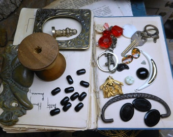 Destash . Junk Recycle upcycle. Lot of - Antique Wood thread spool, pin, drawer handle hardware, key/ key chains, vintage photo frame, cabs