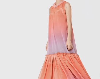 Pink, orange, purple rainbow color maxi dress, romantic bridesmaids dress, evening gown, oversize dress, sexy dress