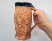 Phoenix Beer Stein Handcrafted Stoneware  Fantasy Art Pottery with Ancient Stain, Renaissance Festival, Home Bar Accessory, Original Design
