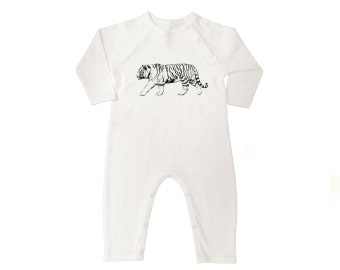 White Tiger Organic Cotton Long Sleeve Baby Coveralls