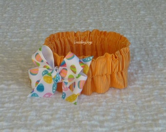 """Orange and White Stripe Dog Scrunchie Collar with Easter egg bow - Size S: 12"""" to 14"""" neck"""