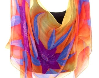 Hand Painted Silk Scarf, Tropical Flowers, Orange Purple Lavender Blue, Floral Silk Chiffon Scarf, Gift For Her
