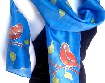 Silk Scarf Hand Painted, Blue Silk Scarf Handpainted, Birds On The Tree, Medium Blue Orange, Gift For Her