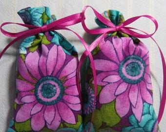 "Hot Pink 4""X2"" Sachet-'Three Flowers' Fragrance-Bright Pink Mother's Day Sachet-Pink Ribbon-Cotton Botanical/Herbal Sachet-Cindy's Loft-524"