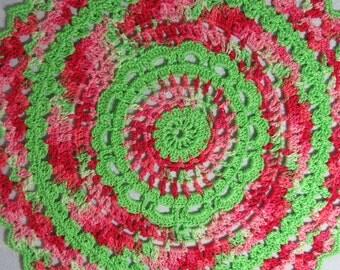 Lime Green Doily-10 inch Doily-Salmon Doily-Hand Crocheted Egyptian Cotton Doily-Cindy's Loft