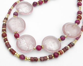 Pink, Gemstones and Gold-Filled Statement Necklace, Simply Irresistible. Unique Jewelry