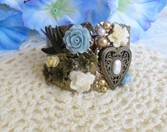 Vintage Gold Cuff Bracelet, Assemblage Bracelet, Cuff Bracelets, Blue Bracelet, Wedding Bracelet, Romantic Bracelet, B298
